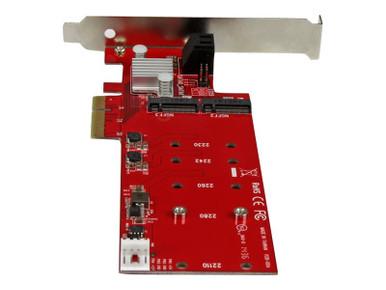 PEXM2SAT3422 -- StarTech.com 2x M.2 NGFF SSD RAID Controller Card plus 2x SATA III Ports - PCIe - Two Slot -- New