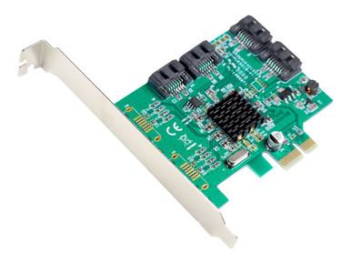 SI-PEX40064          -- 4PORT SATA III PCIE2.0X1        MARVELL 9215 NON-RAID CTLR CARD     -- New