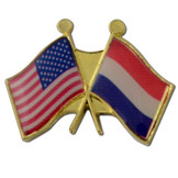 Crossed Flags Lapel Pins - Any Two Countries