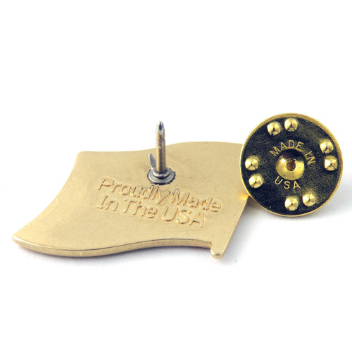 """Each pin is stamped """"Proudly Made in the USA"""" on the back - even our clutches are Made in USA"""