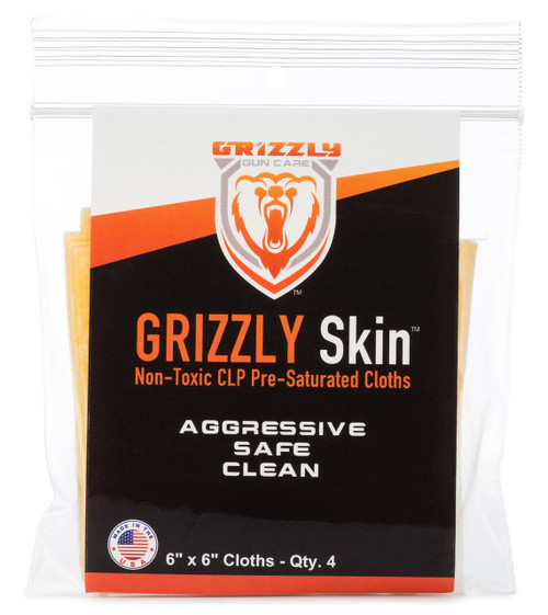 "Grizzly Skin Non-Toxic CLP Pre-Saturated Cloths 6"" x 6"" QTY. 4"