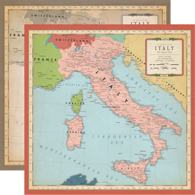 Cartography No. 1: Italy Map 12x12 Patterned Paper