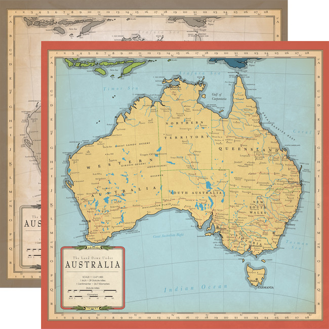 Cartography No. 1: Australia Map 12x12 Patterned Paper