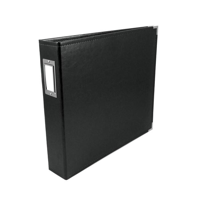 12x12 Leather Ring Album: Black