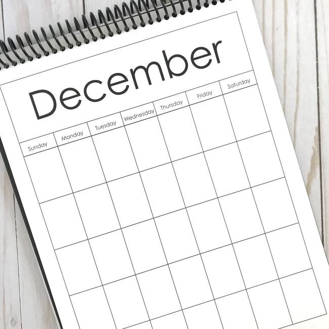 A Pebbles Exclusive: 8.5x11 Blank Calendar