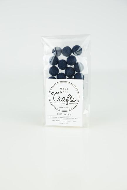 Small Felt Balls: Navy Blue