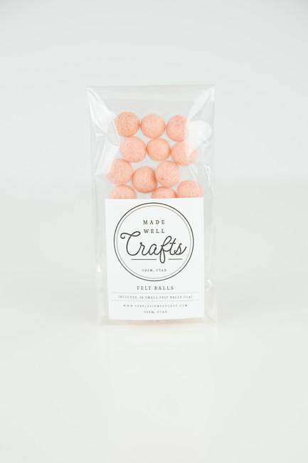 Small Felt Balls: Peach