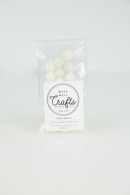 Small Felt Balls: White