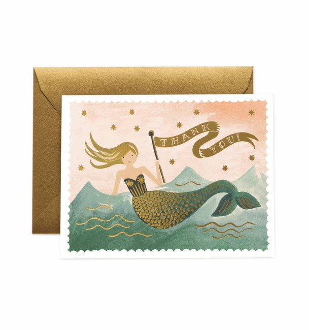 Rifle Paper Co: Vintage Mermaid Thank You Card
