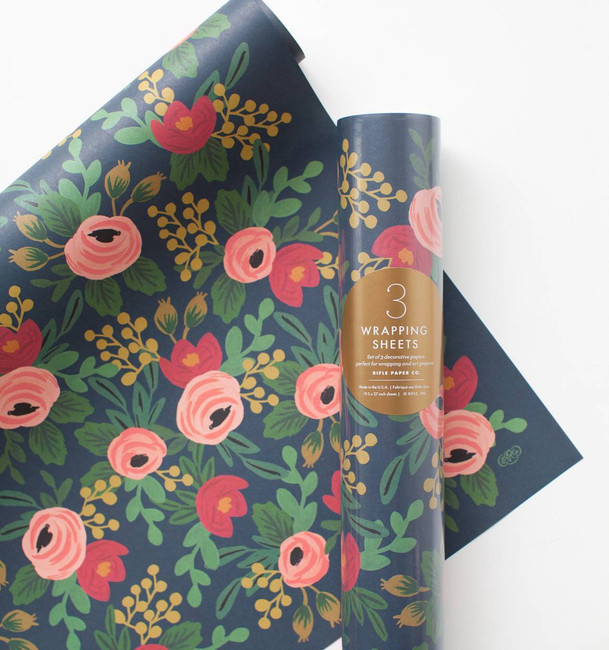 Rifle Paper Co: Roll of 3 Rosa Wrapping Sheets
