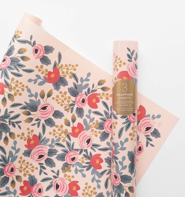 Rifle Paper Co: Roll of 3 Blushing Rosa Wrapping Sheets