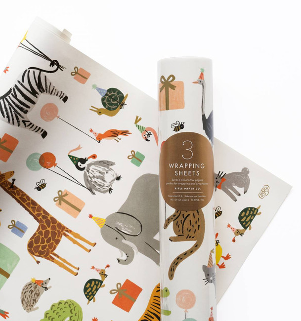 Rifle Paper Co: Roll of 3 Party Animals Wrapping Sheets