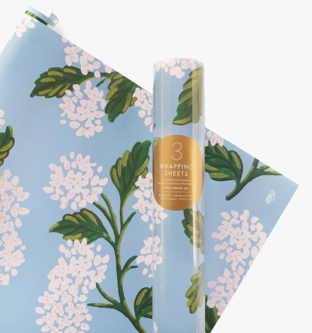 Rifle Paper Co: Roll of 3 Hydrangea Wrapping Sheets