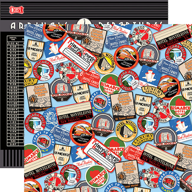 All Aboard: Destination Stickers 12x12 Patterned Paper