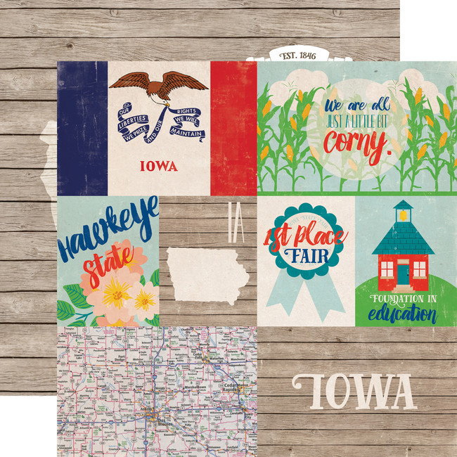 Stateside: Iowa 12x12 Patterned Paper