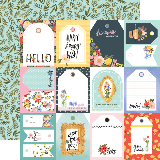 Oh Happy Day: Tags 12x12 Patterned Paper