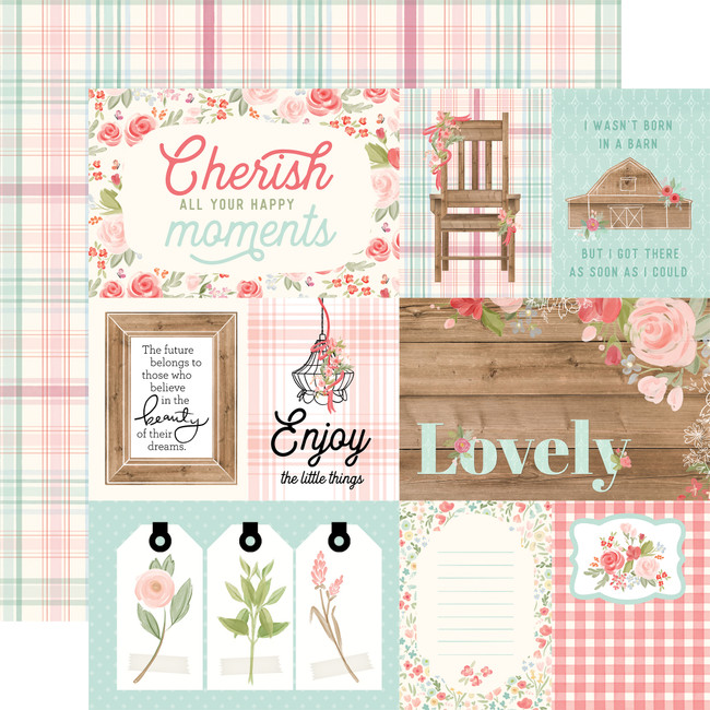 Farmhouse Market: 4X6 Journaling Cards 12x12 Patterned Paper