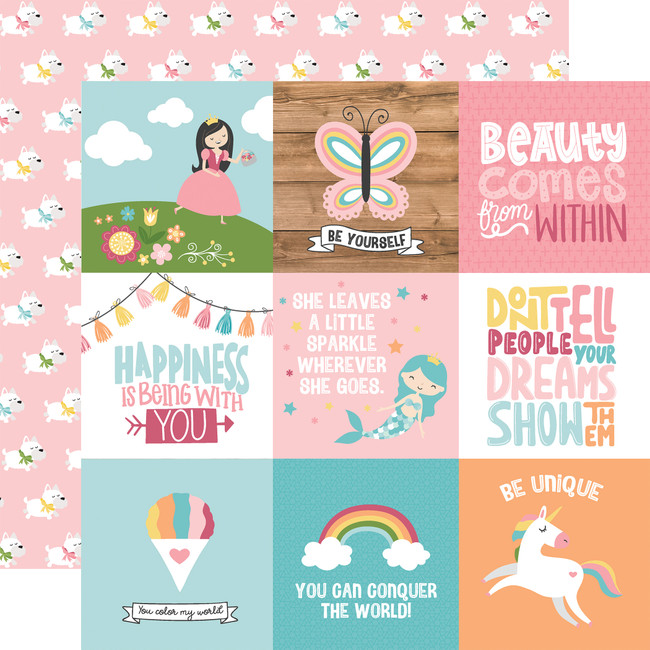 All Girl: 4X4 Journaling Cards 12x12 Patterned Paper