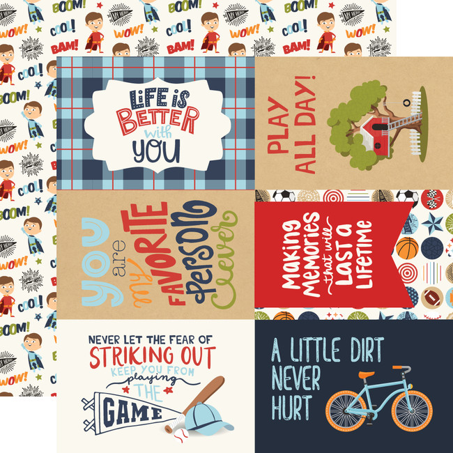 All Boy: 4X6 Journaling Cards 12x12 Patterned Paper