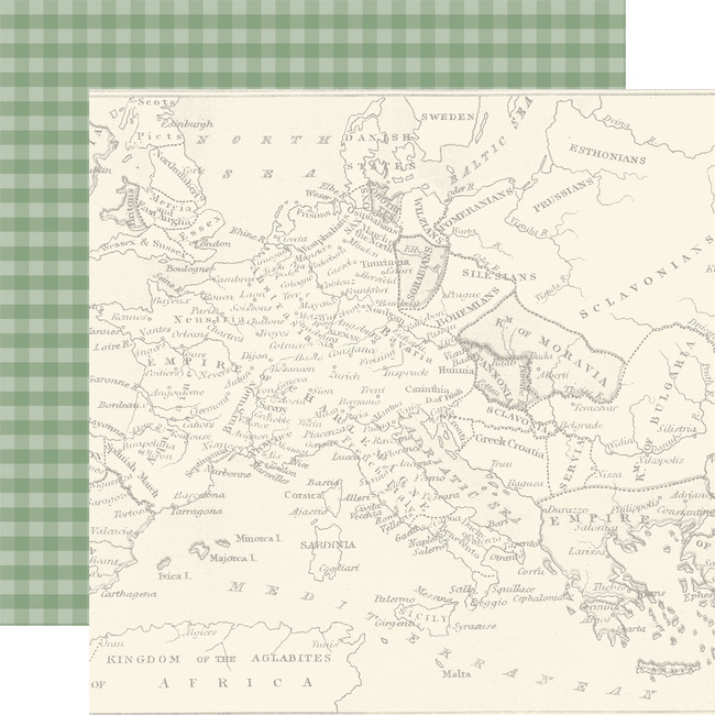 Scenic Route: Map of Europe 12x12 Patterned Paper