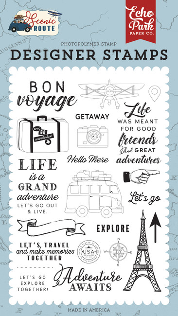 Scenic Route: Let's Go Travel Stamp Set