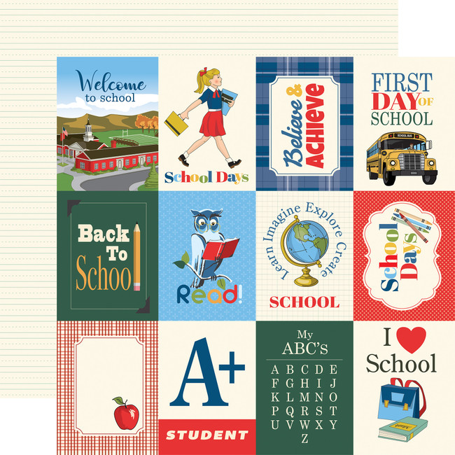 School Days: 3X4 Journaling Cards 12x12 Patterned Paper