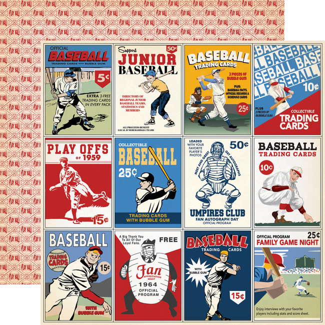 Baseball: 3x4 Journaling Cards 12x12 Patterned Paper