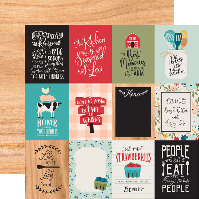 Farmhouse Kitchen: 3x4 Journaling Cards 12x12 Patterned Paper