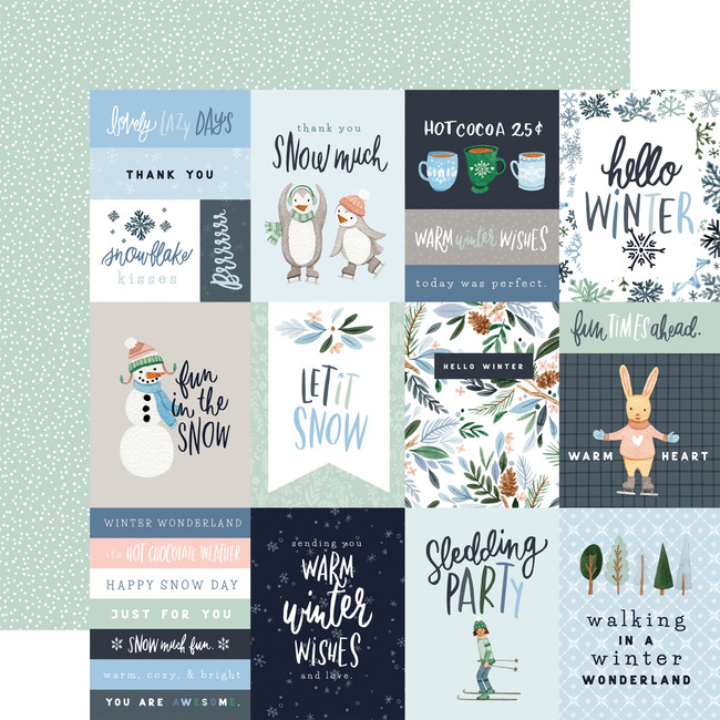 Winter Market: 3x4 Journaling Cards 12x12 Patterned Paper