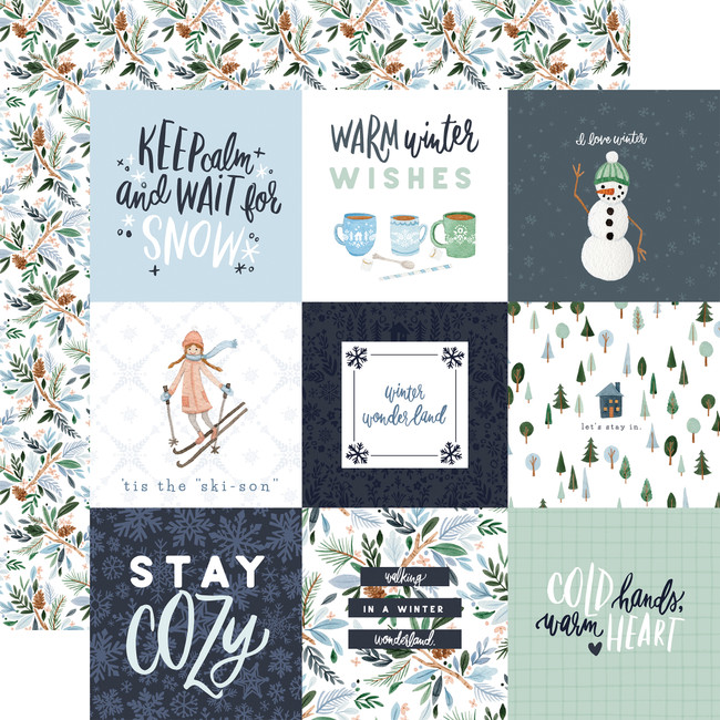 Winter Market: 4x4 Journaling Cards 12x12 Patterned Paper