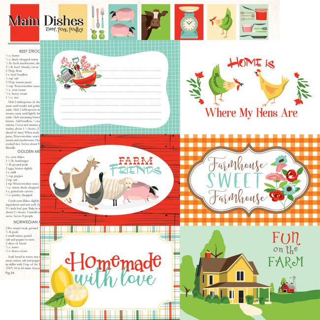 Farm To Table: 6x4 Journaling Cards 12x12 Patterned Paper