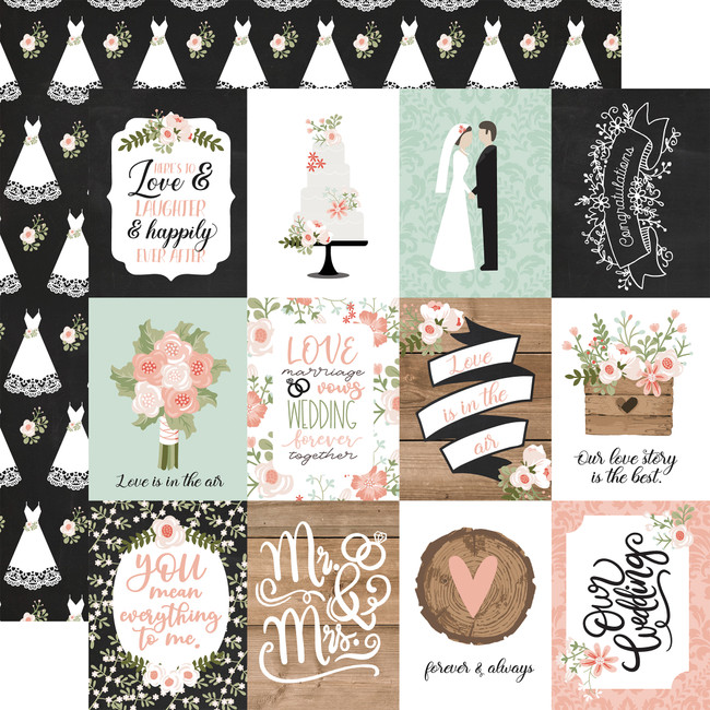 Our Wedding: 3x4 Journaling Cards 12x12 Patterned Paper