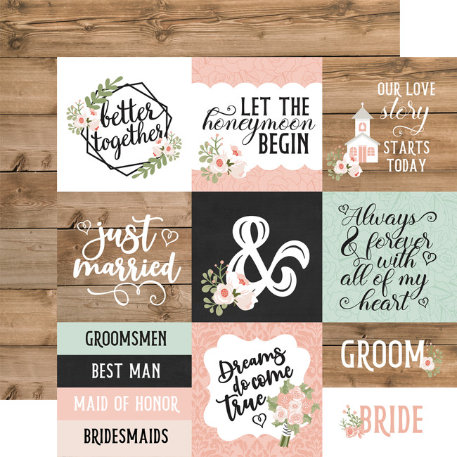 Our Wedding: 4x4 Journaling Cards 12x12 Patterned Paper