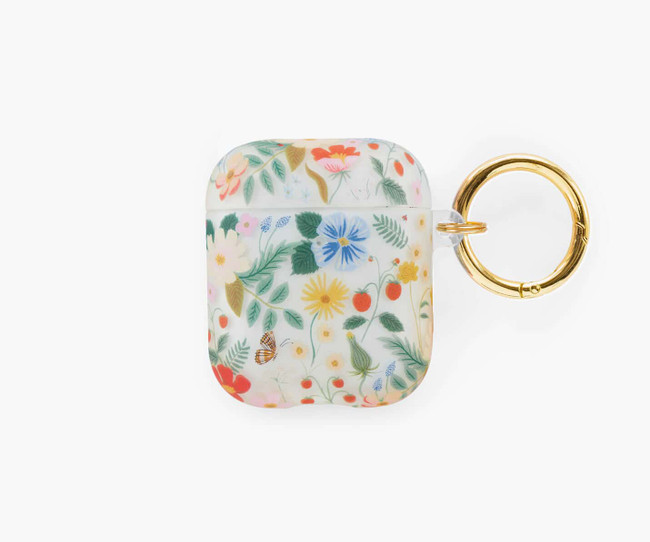 Rifle Paper Co: Clear Strawberry Fields AirPod Case
