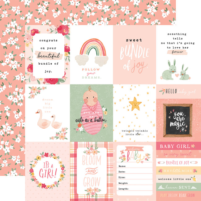 Welcome Baby Girl: 3x4 Journaling Cards
