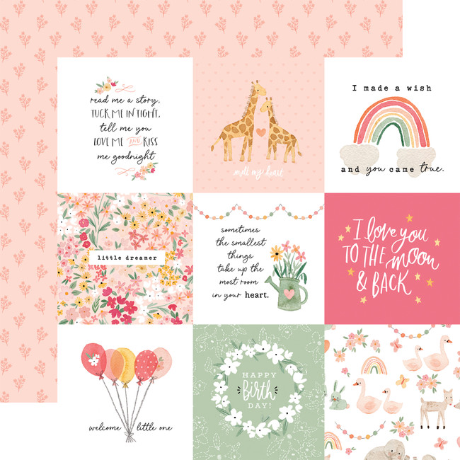 Welcome Baby Girl: 4x4 Journaling Cards