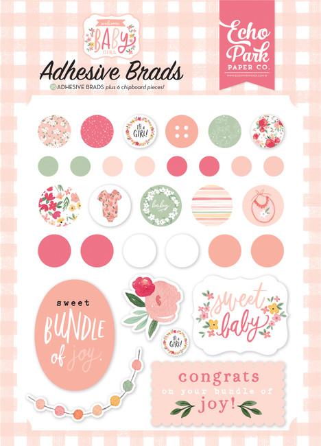 Welcome Baby Girl: Welcome Baby Girl Adhesive Brads