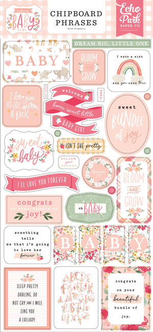 Welcome Baby Girl: Welcome Baby Girl 6x13 Chipboard Phrases