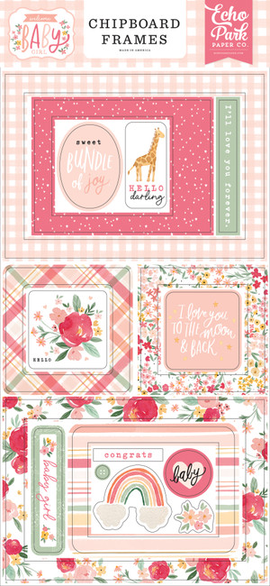 Welcome Baby Girl: Welcome Baby Girl 6x13 Chipboard Frames