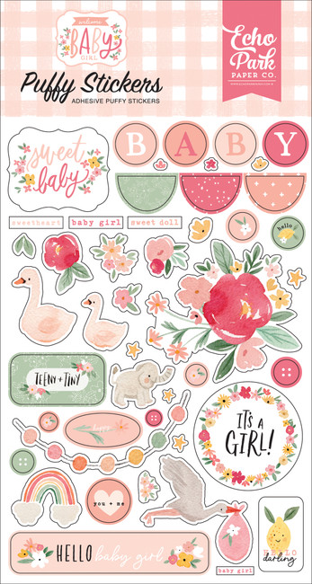 Welcome Baby Girl: Welcome Baby Girl Puffy Stickers