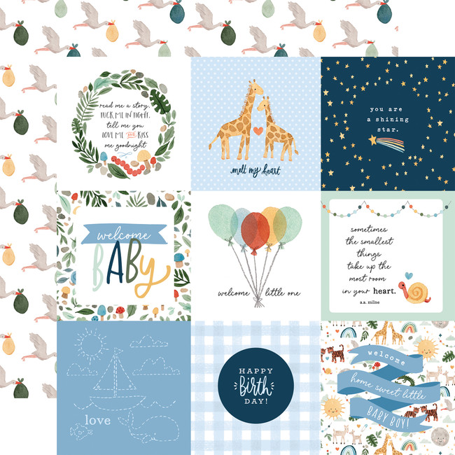 Welcome Baby Boy: 4x4 Journaling Cards