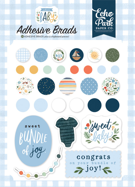 Welcome Baby Boy: Adhesive Brads