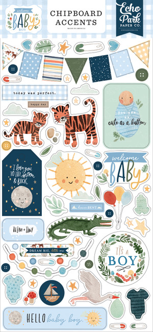 Welcome Baby Boy: 6x13 Chipboard Accents