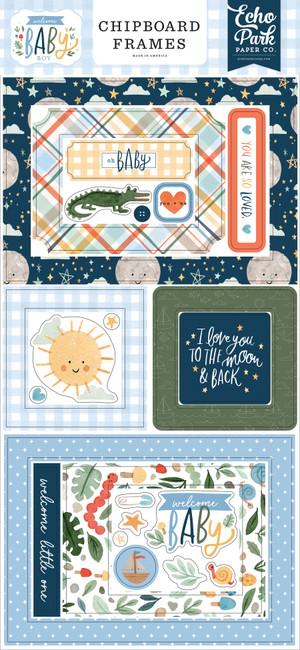 Welcome Baby Boy: 6x13 Chipboard Frames