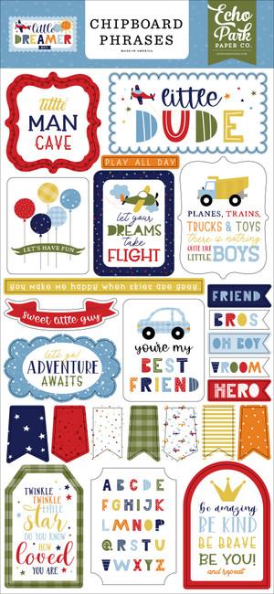 Little Dreamer Boy: 6x13 Chipboard Phrases