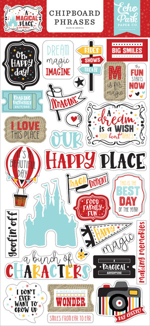 A Magical Place: 6x13 Chipboard Phrases