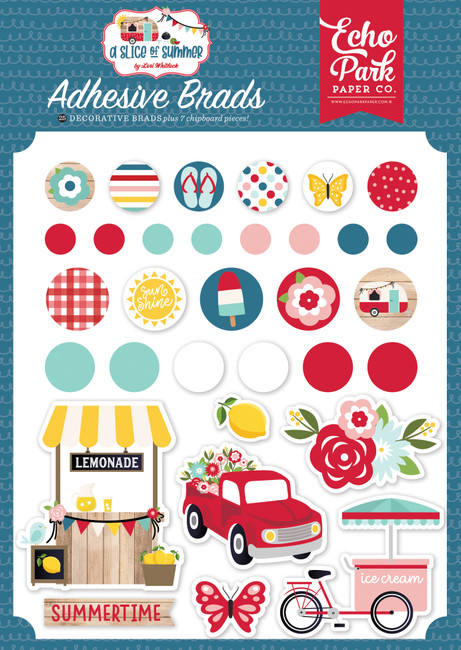A Slice of Summer: Adhesive Brads