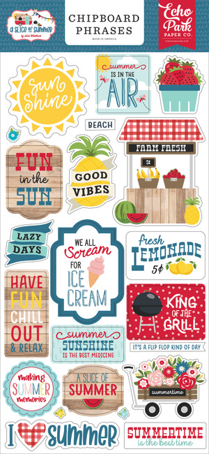 A Slice of Summer: 6x13 Chipboard Phrases