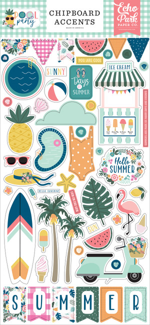 Pool Party: 6x13 Chipboard Accents