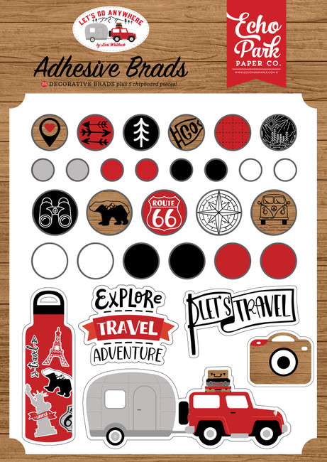 Let's Go Anywhere: Adhesive Brads